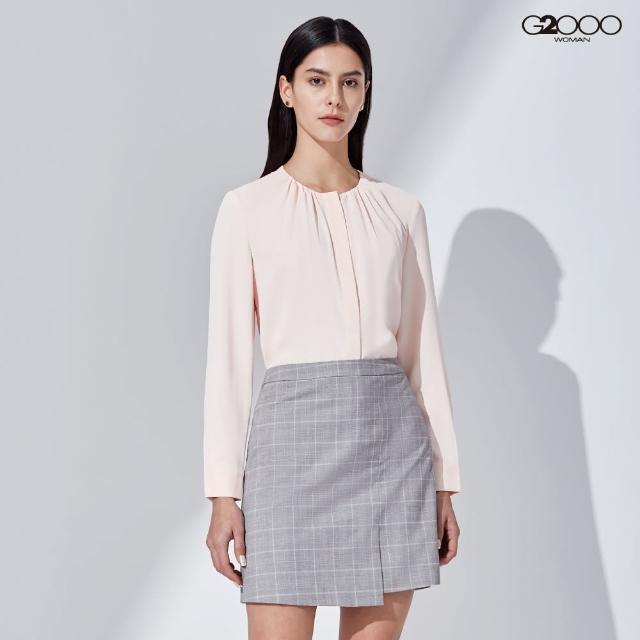 【G2000】時尚素面長袖休閒上衣-粉橘色(1124340231)