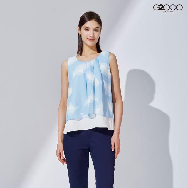 【G2000】時尚印花無袖休閒上衣-淺藍色(1124800873)