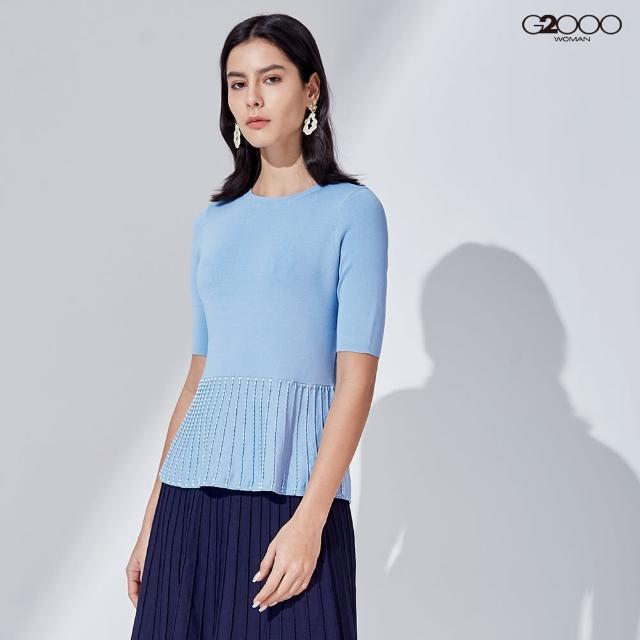 【G2000】時尚素面針織衫-淺藍色(1129000573)