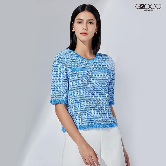 【G2000】時尚緹花針織衫-藍色(1129000976)