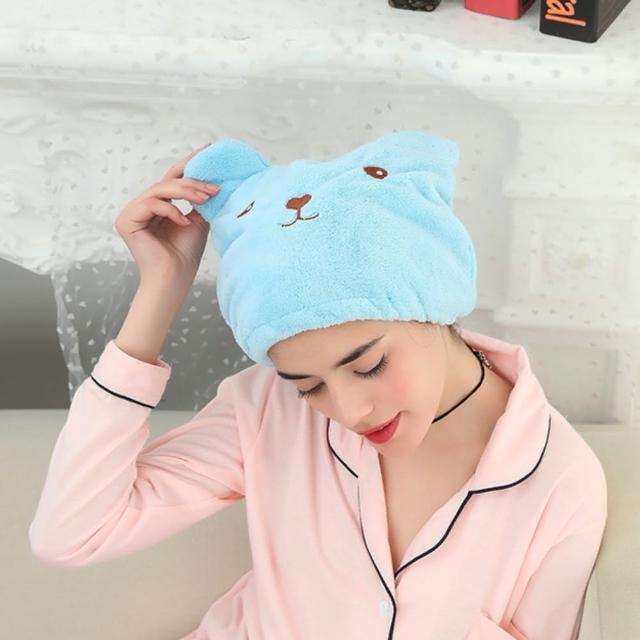 【89 zone】日系時尚柔軟動物卡通乾髮巾/髮束 1 入(藍)
