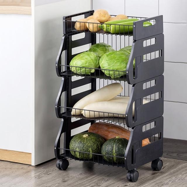 【HappyLife】可移動廚房收納車 三層 可拆用 Y10168(收納架 瓶罐收納 收納車 附輪收納車 置物架 廚房收納)