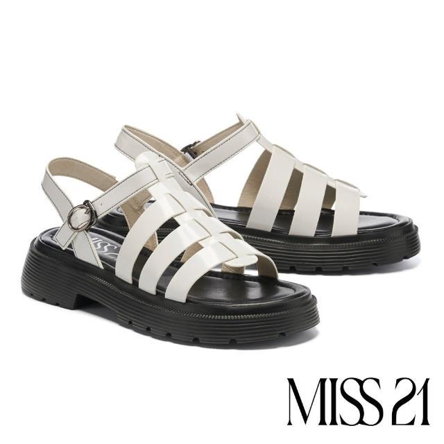 【MISS 21】個性潮感亮澤開編珠魚骨厚底涼鞋(白)