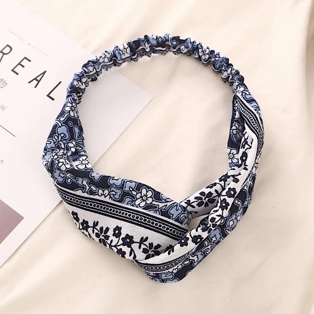 【89 zone】法式古典手工布藝交叉髮束/髮帶(款式5 藍)