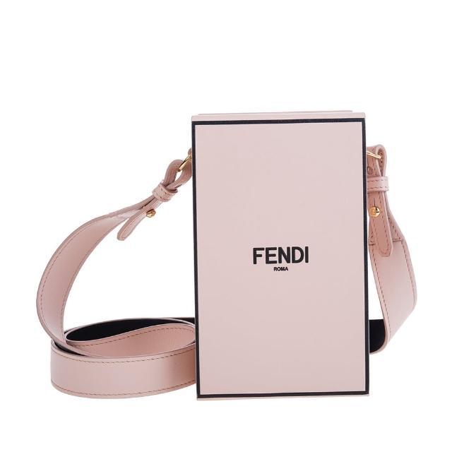 【FENDI 芬迪】新款品牌黑色手繪Fendi Roma字樣皮革肩背/斜背直立式硬盒包(霧粉)