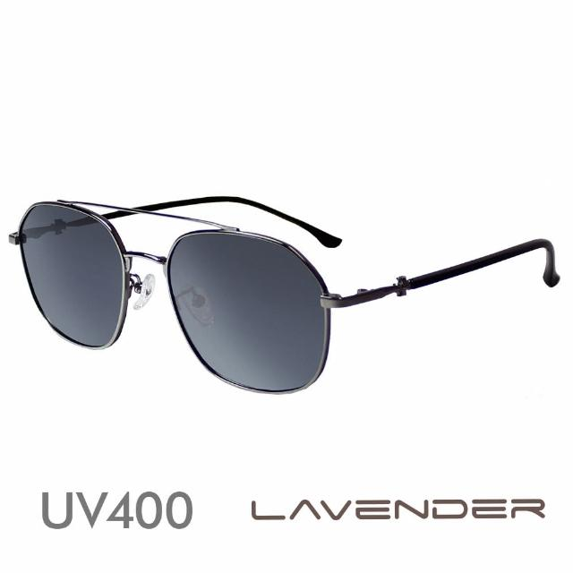 【Lavender】雙槓金屬十字雕刻鏡腳-迷霧灰J3196-C2(偏光太陽眼鏡)