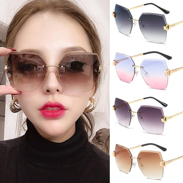 【Seoul Show 首爾秀】無框水晶切邊鑲鑽太陽眼鏡UV400墨鏡 9027(防曬遮陽)
