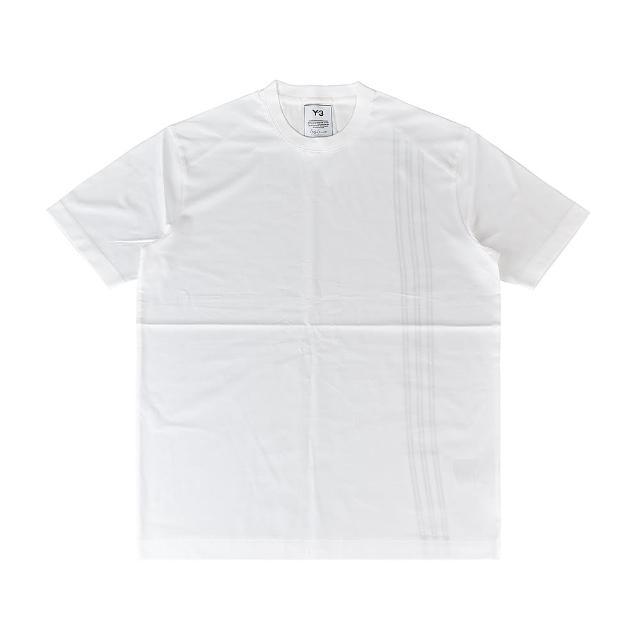 【Y-3 山本耀司】Adidas Y-3立體標籤LOGO三條紋設計純棉短T(男/白x黑條紋)