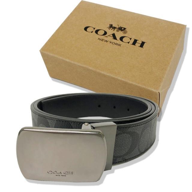 【COACH】方頭C LOGO男款中性寬版皮帶禮盒(方頭黑灰)