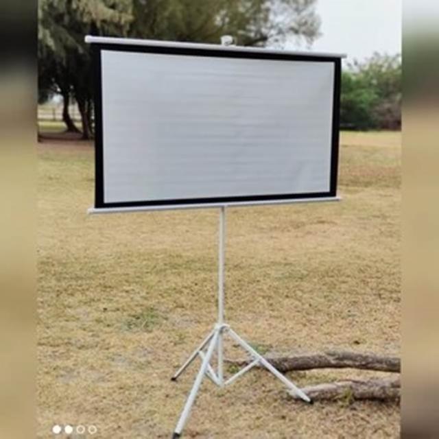【May shop】含支架 套裝 100寸16:9/4:3白塑支架幕布便攜移動辦公戶外投影幕