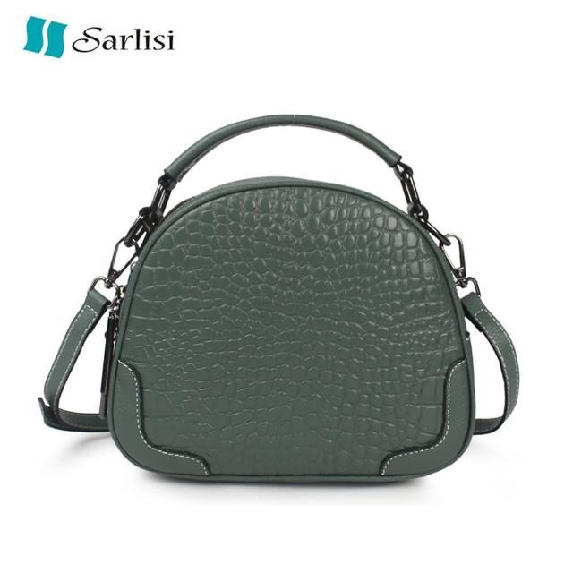 【Sarlisi】包包新款潮鱷魚紋頭層牛皮女包真皮質感單肩包斜背包夏季小圓包