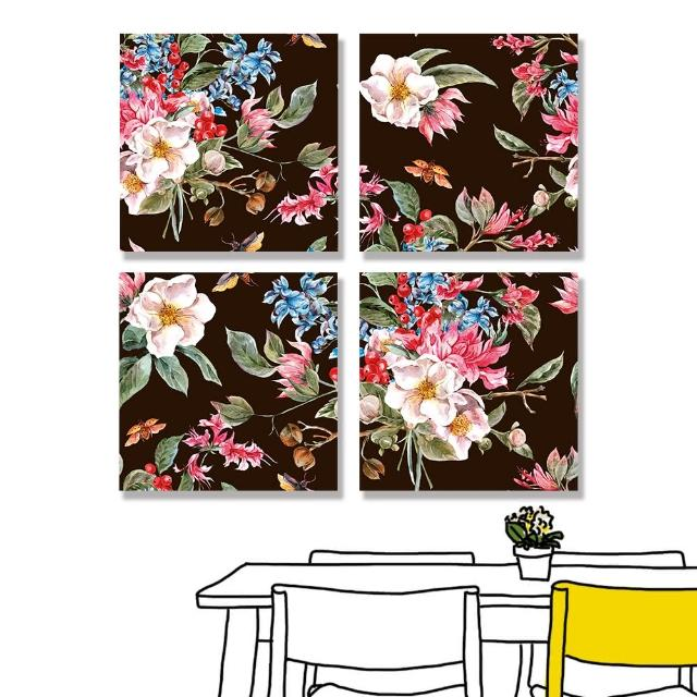 【24mama 掛畫】四聯式 油畫布 春天 復古 植物花朵 昆蟲 甲蟲 手繪 無框畫-30x30cm(柔和的春天02)