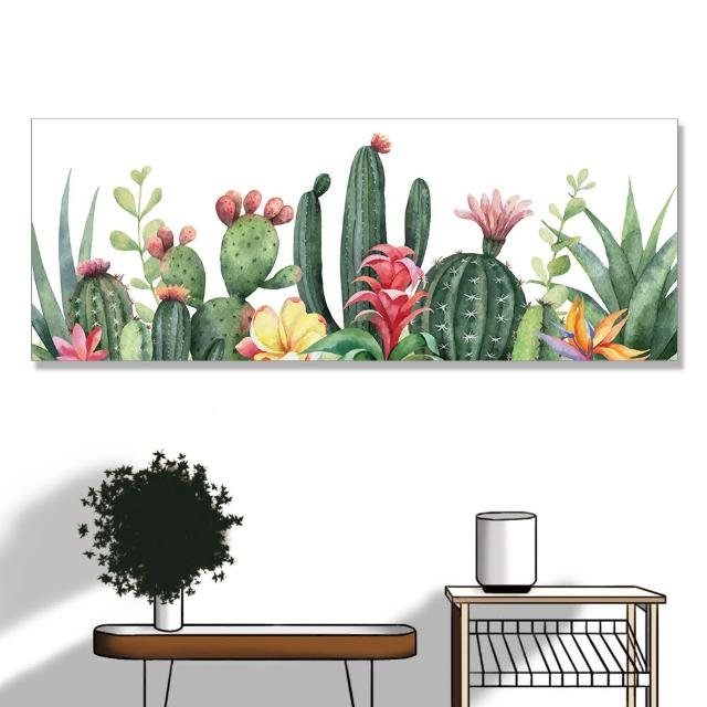 【24mama 掛畫】單聯式 油畫布 仙人掌 花卉 插圖 夏天 無框畫-80x30cm(熱帶植物花卉)