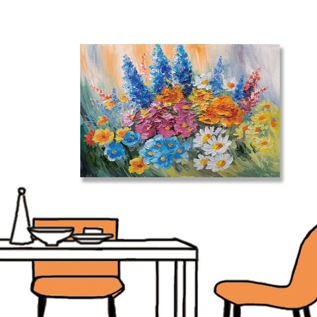 【24mama 掛畫】單聯式 油畫布 抽象 五顏六色 藝術 豐富多彩 美麗花卉 無框畫-60x40cm(春天花束)