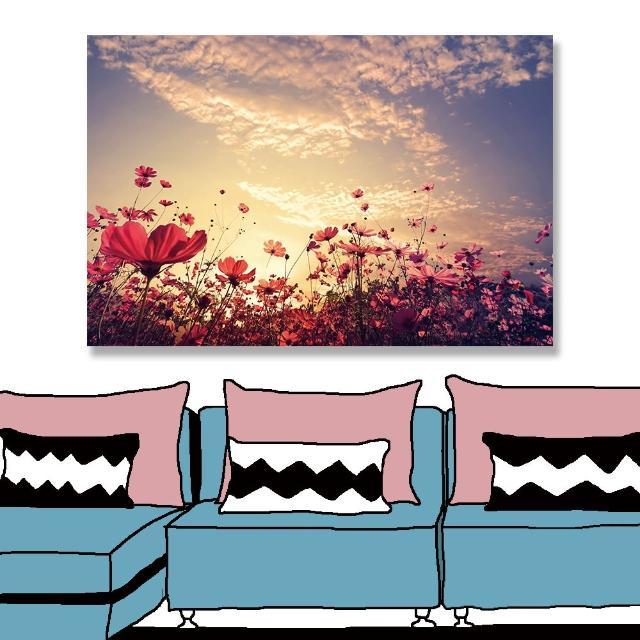 【24mama 掛畫】單聯式 油畫布 花卉 陽光 復古 粉紅色 天空 雲 無框畫 時鐘掛畫-60x40cm(美麗花田)