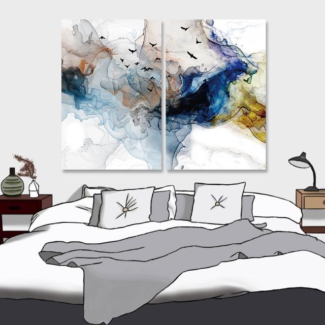 【24mama 掛畫】二聯式 油畫布 鳥 動物 抽象 現代藝術插圖 豐富多彩 無框畫-40x60cm(多色波浪煙)