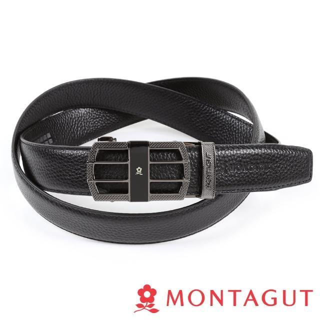 【MONTAGUT 夢特嬌】個性方框真皮自動扣皮帶(頭層牛皮845)
