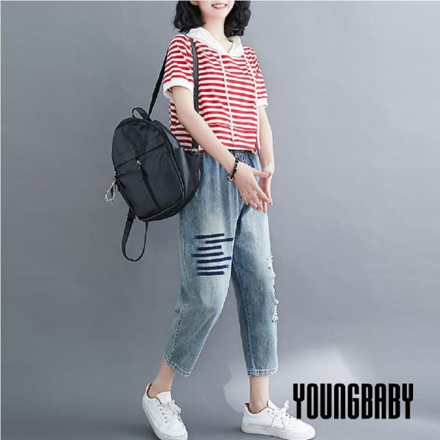 【YOUNGBABY】貼深藍橫條破破交叉牛仔七分褲