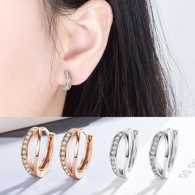 【Emi 艾迷】柔美風華鋯石環繞耳環(防過敏防退色)