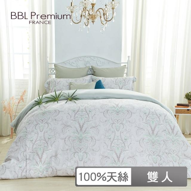 【BBL Premium】100%天絲印花兩用被床包組-爵士哈樂黛-幻彩綠(雙人)