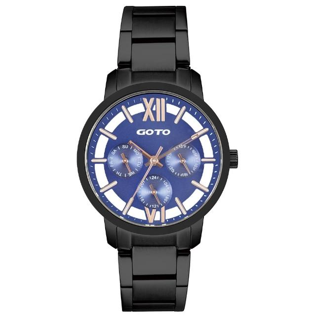 【GOTO】LINK系列裸空三眼精品時尚手錶-IP黑x藍(GS0060L-33-L41)