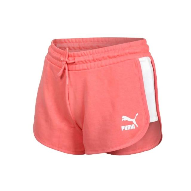 【PUMA】女流行系列T7短褲-歐規 三分褲 慢跑 路跑 圈毛 針織 真理褲 珊瑚橘白(53023724)