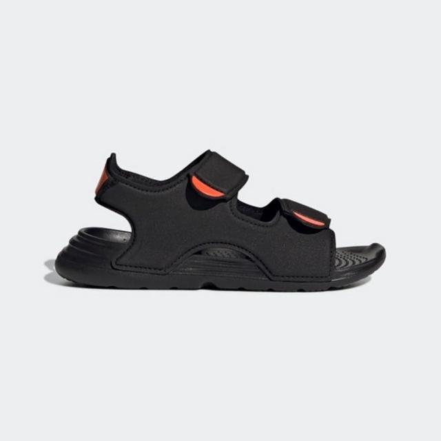 【adidas 愛迪達】Swim Sandals C 黑色兒童涼拖鞋-NO.FY8936