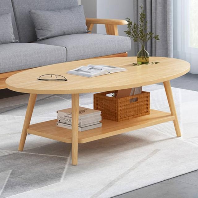 【HappyLife】雙層橢圓形茶几 120cm Y10187(咖啡桌 客廳桌 大桌子 大理石桌 木紋桌 桌子 大茶几)