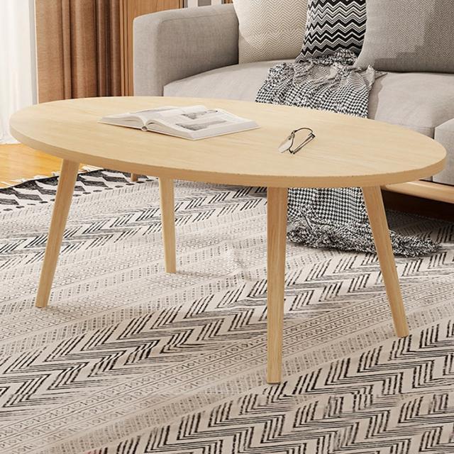 【HappyLife】單層橢圓形茶几 80cm Y10184(咖啡桌 客廳桌 大桌子 大理石桌 木紋桌 桌子 大茶几)
