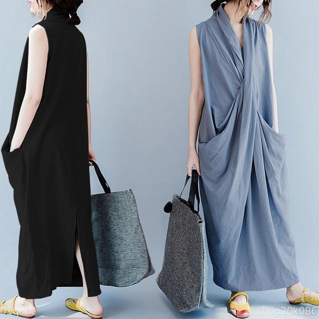 【A3】V領造型寬鬆長袍連衣裙(棉麻舒適上衣)