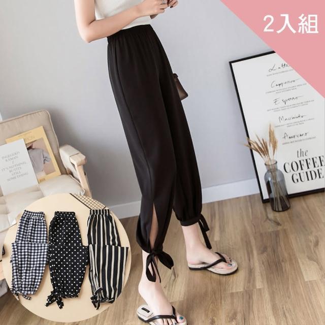 【CS22】雪紡顯瘦高腰綁帶燈籠褲-2入組(束口褲)