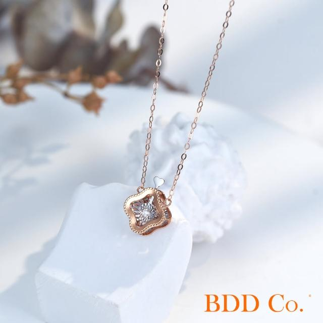 【BDD Co.】BDD-Co.18k玫瑰金/白金 Au750(四葉草圓形泡泡鑽石項鏈)