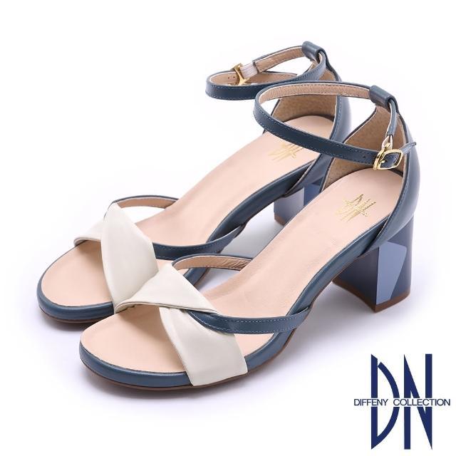 【DN】涼鞋_MIT真皮撞色方粗跟繫帶涼鞋(藍)