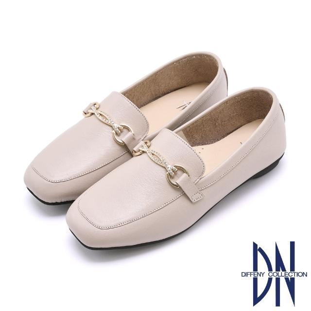 【DN】樂福鞋_MIT簡約水鑽飾釦牛皮樂福鞋(米)