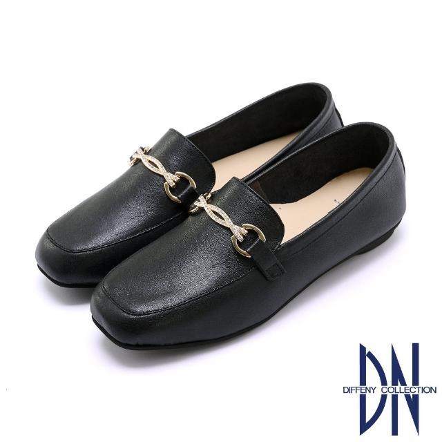 【DN】樂福鞋_MIT簡約水鑽飾釦牛皮樂福鞋(黑)