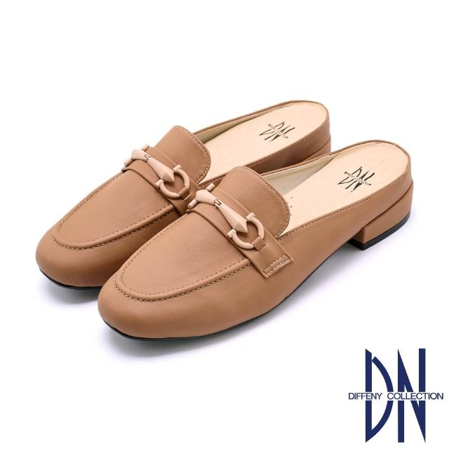 【DN】穆勒鞋_MIT百搭烤漆金屬釦低跟拖鞋(卡其)