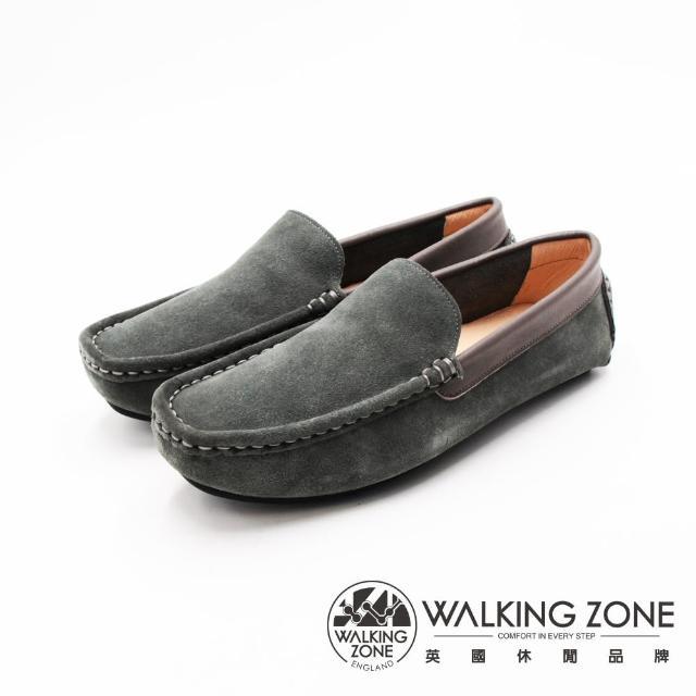 【WALKING ZONE】男 舒適柔軟真皮豆豆鞋 男鞋(鐵灰)