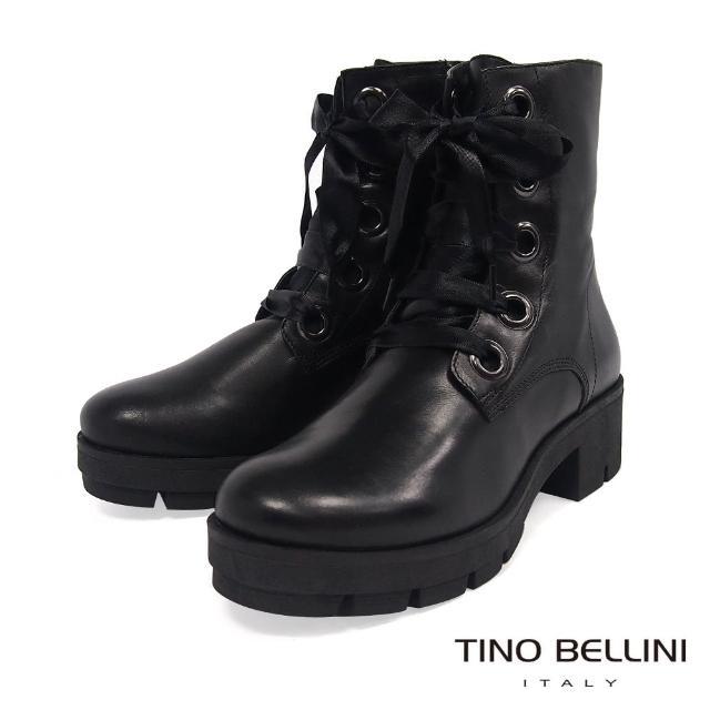 【TINO BELLINI 貝里尼】潮流街頭側拉鍊綁帶厚底靴TF8547(黑)