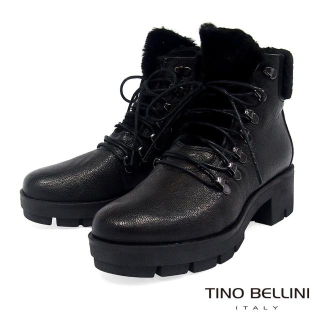 【TINO BELLINI 貝里尼】英姿暖心毛料綁帶厚底中跟靴TF8545(黑)