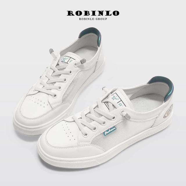 【Robinlo】真皮涼感透氣網布小白鞋休閒鞋-NINIE(綠色)