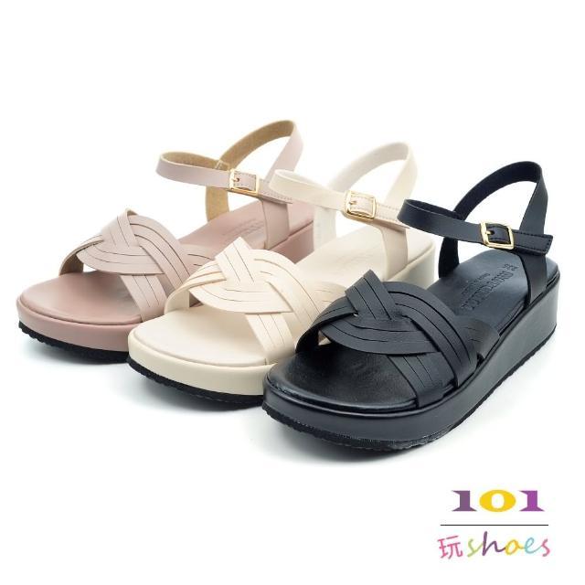 【101 玩Shoes】mit. 典雅線條厚底坡跟涼鞋(黑/米/可可.36-40碼)