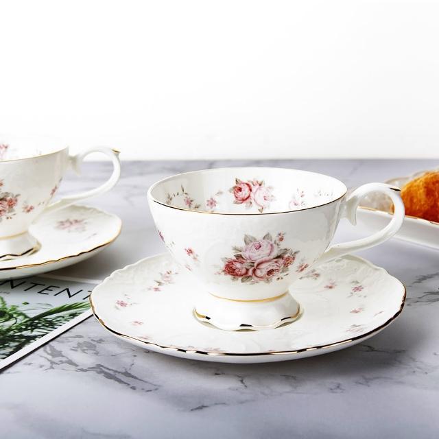 【Royal Duke】骨瓷咖啡杯組-浮雕玫瑰(兩杯兩碟咖啡杯組)