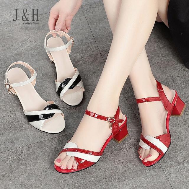 【J&H collection】真皮時尚中跟一字扣涼鞋(現+預 紅色 / 米色)