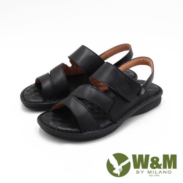 【W&M】男 真皮可拆帶兩用魔鬼氈涼拖鞋 男鞋(黑)