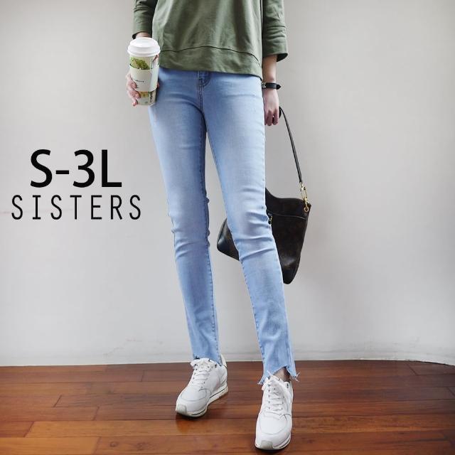 【SISTERS】韓妞版!刷破抓鬚窄管牛仔褲/S-3L(牛仔褲/長褲/窄管/顯瘦)