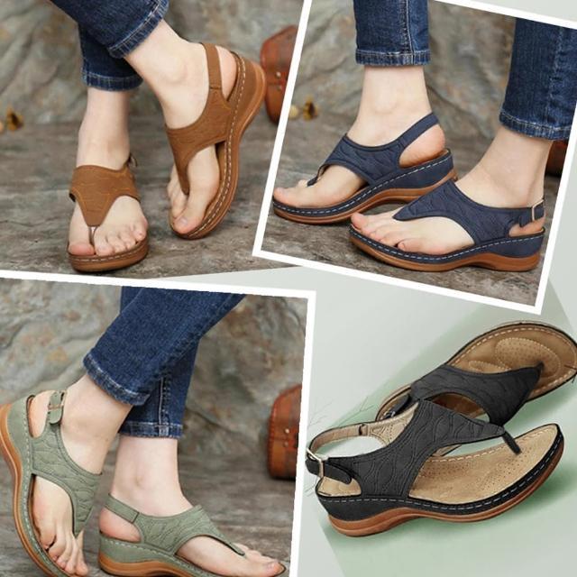 【A3】新款夾腳坡鞋涼鞋女款(柔軟舒適防滑氣質鞋.百搭款)