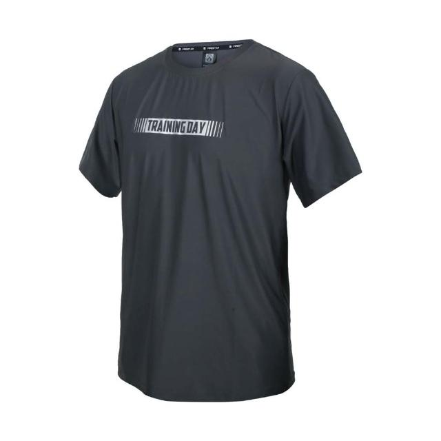 【FIRESTAR】男彈性印花圓領短袖T恤-慢跑 路跑 涼感 上衣 反光 灰銀(D1737-15)