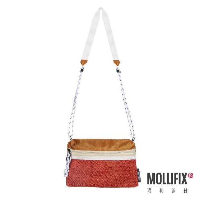 【Mollifix 瑪莉菲絲】拼色雙袋斜背隨身小包(紅棕)