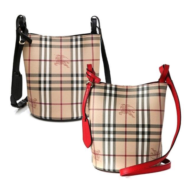 【BURBERRY 巴寶莉】Haymarket 戰馬格紋斜背水桶包(多色任選)