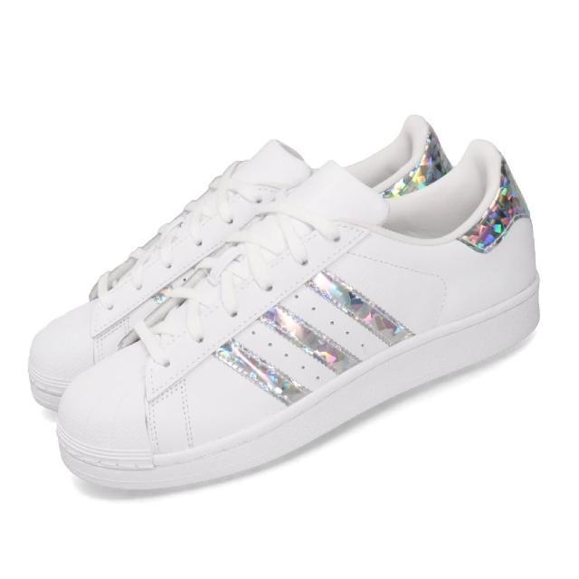 【adidas 愛迪達】休閒鞋 Superstar 復古 女鞋 愛迪達 三葉草 貝殼頭 鐳射 反光 大童 白 銀(F33889)